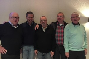 Het bestuur; v.l.n.r. Hans van Schijndel, Frans Armee, Günter Kellner, Johan Michorius en Meindert Klopstra